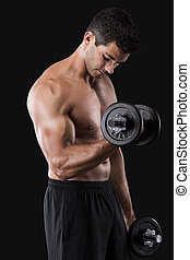 Muscular man lifting weights - Portrait of a muscular man...