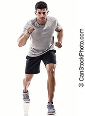 Athletic man running - An athletic man running, isolated...