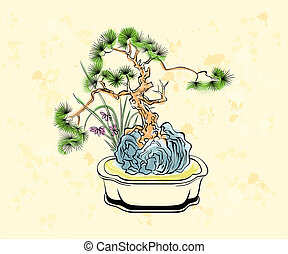 Bonsai art - Colorful ink styled drawing of bonsai tree with...