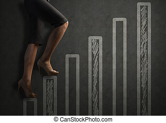 concept of success in business - business woman legs drawn...
