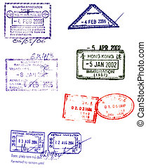 asian passport stamps vectors - hong kong,china,malaysia,...
