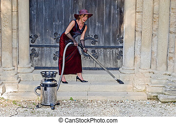 sexy church woman cleaner - woman cleaning ancient church...