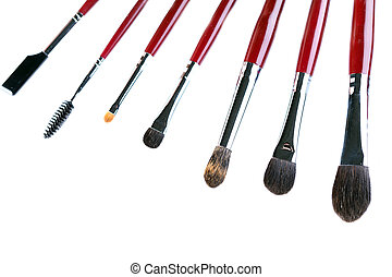 Set of brushes and applicators for applying makeup