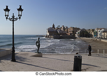 Coast of Sitges - Seafront of Sitges with sculpture and...