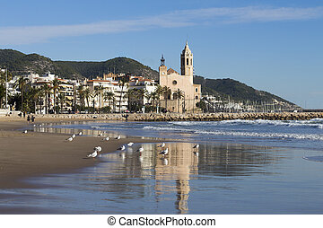 church in Sitges - Sant Bartomeu i Santa Tecla church in...
