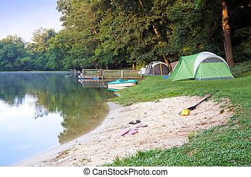 Tents at the Lake - A family campsite at the lake...