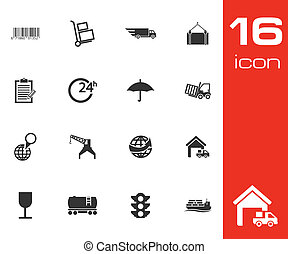 Vector Black  Logistic Icons Set on white background