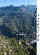 Funicular in Montserrat mountain in Catalonia, Spain