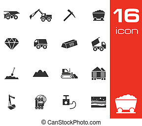 Vector black mining icons set on white background