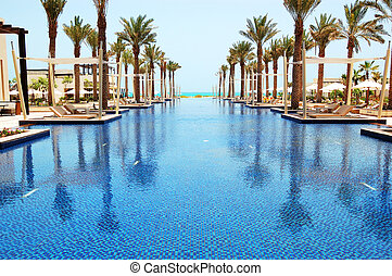 Swimming pool of the luxury hotel, Saadiyat island, Abu...