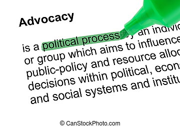 Highlighted words political process with green pen -...