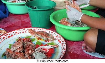 Steamed crabs at Thai restaurant