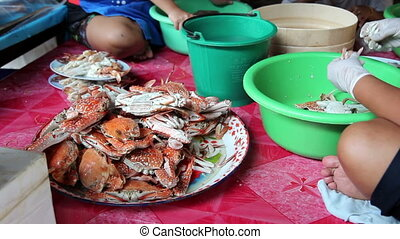 Steamed crabs at Thai restaurant