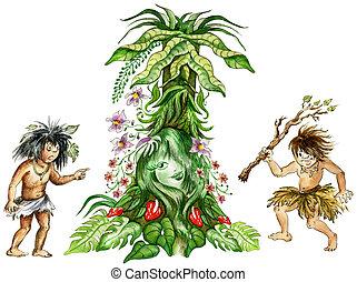 Aboriginals in of jungle - Illustration of two aboriginals...