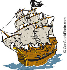 Pirate Ship - Old weathered Pirate Ship Cartoon