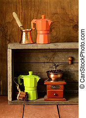 set of different kitchen utensils for coffee (old fashioned...
