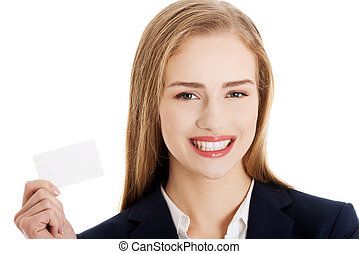 Beautiful caucasian business woman holding personal card...