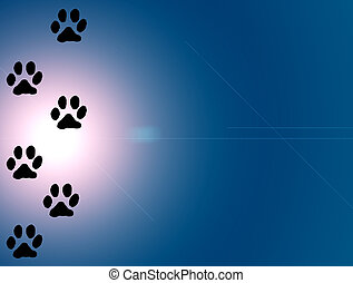 animal\'s tracks on blue light background. abstract...