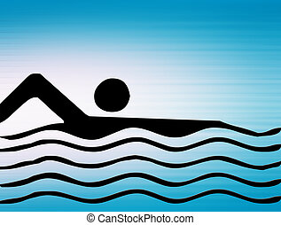swimming - black silhouette of person swimming on blue...