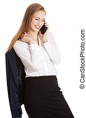 Attractive sensual caucasian business woman is talking through phone. Isolated on white.