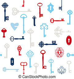 Antique Keys Background - for your design or scrapbook - in vector