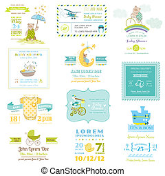 Set of Baby Shower and Arrival Cards - for design and...
