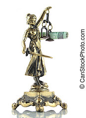 Justice Statue and polish banknote Lawyer background