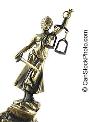 Justice Statue on white Lawyer background