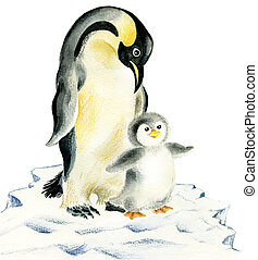 Penguins mother and baby - Illustration of cute penguins:...