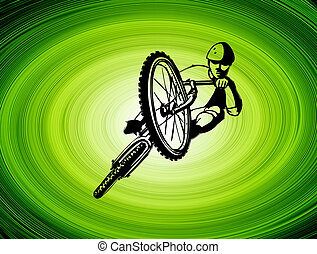 bike - man on bike jumpping on green abstract background