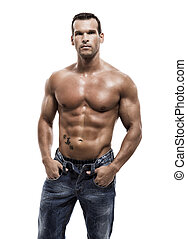 Muscle man posing in studio, isolated over a white...