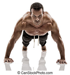 Muscle man making pushups - Muscle man dmaking push ups in...
