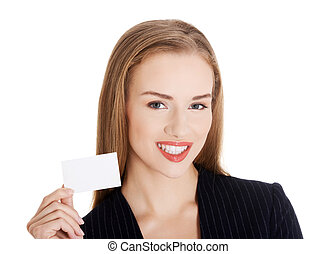 Beautiful business woman holding small empty personal card...