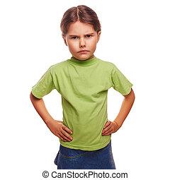 Adolescente, enojado, mal, niña, exposiciones,...