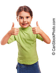 teenager baby girl raised her thumbs up isolated smiling symbol