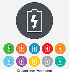 Battery charging sign icon. Lightning symbol. Round...