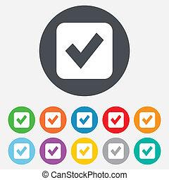 Check mark sign icon. Checkbox button. Round colourful 11...