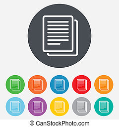 Copy file sign icon Duplicate document symbol Round...