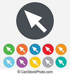 Mouse cursor sign icon. Pointer symbol. Round colourful 11...