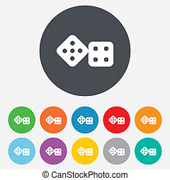 Dices sign icon. Casino game symbol. Round colourful 11...