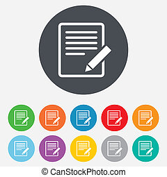 Edit document sign icon Edit content button Round colourful...