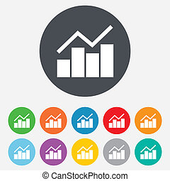Graph chart sign icon. Diagram symbol. Statistics. Round...