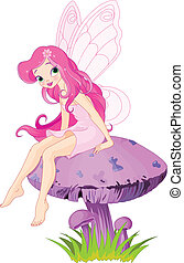 Fairy on the Mushroom - Pink fairy elf sitting on mushroom