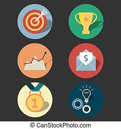 Success concept icons set