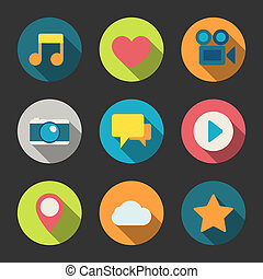 Social media icons set for blogging networking and content...