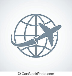 Globe and plane travel icon isolated vector illustration