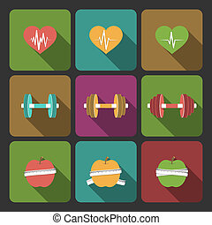 Fitness exercises progress icons set