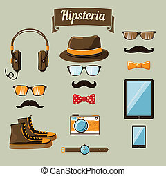 Hipster devices icons set of headphones music player clock...
