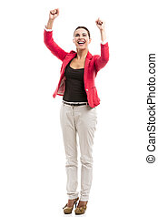 Happy businesswoman - Happy business woman with arms on the...
