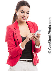 Business woman sending sms - Business woman texting someone,...